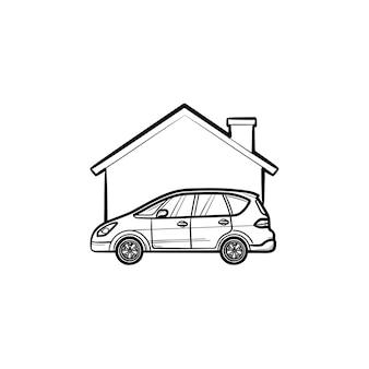 車のガレージ手描きのアウトライン落書きアイコン