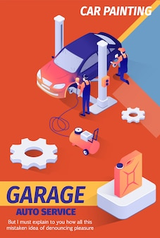 Car garage offers painting service banner