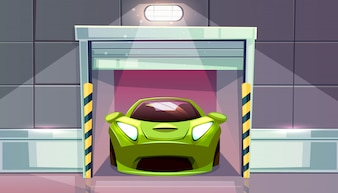 Car garage or parking lot exit with roller shutters vector illustration. Vehicle modern sportcar in