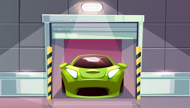 Автомобильный гараж или автостоянка выезд с рольставней векторные иллюстрации. современный спортивный автомобиль