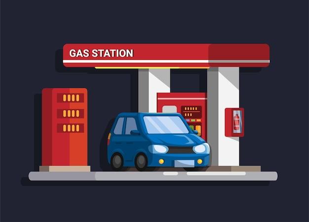 Car gas station building cartoon