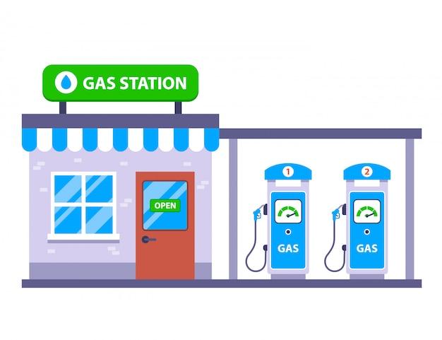 道路で車のガソリンスタンド。