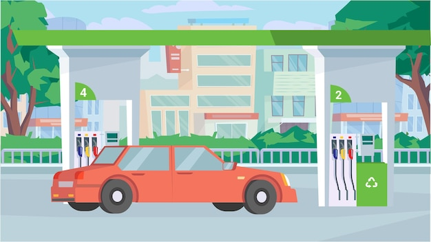 Car at gas station concept in flat cartoon design station exterior refueling facility service city s...