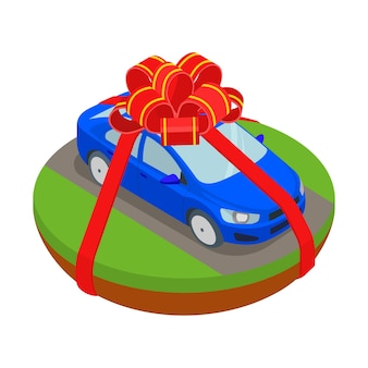 Car gift in ribbons illustration