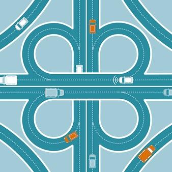 Concetto di vista dall'alto di monitoraggio gps per auto