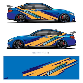 Car graphic. abstract lines with blue design for vehicle vinyl wrap
