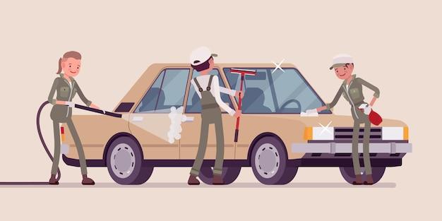 車の手洗いフルサービスと若い従業員