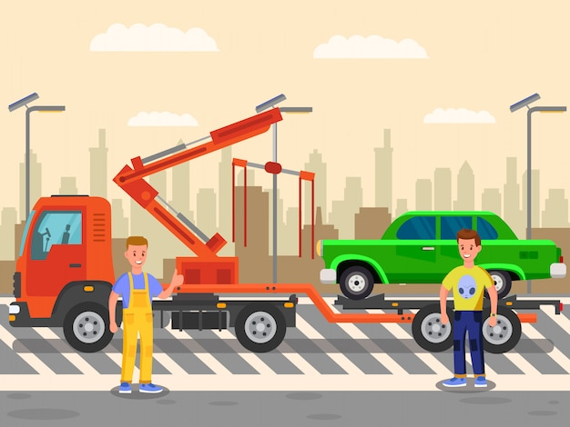 Car hauling, evacuating business flat illustration