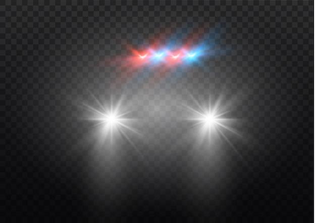 어둠 속에서 빛나는 자동차 헤드 라이트. 검은 배경에 헤드 라이트와 함께 자동차의 실루엣입니다. 쉬운 빛 플래시. 삽화.