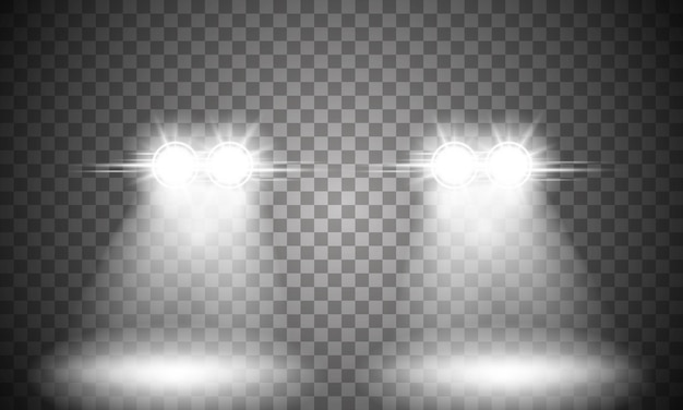Свет фар автомобиля на прозрачном фоне.