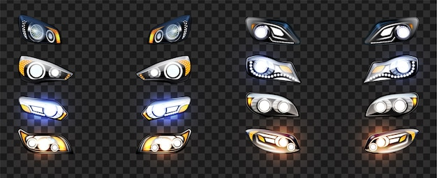 Car headlight with glowing light effect set