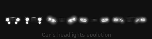 Car headlights evolution, glowing front headlamps banner