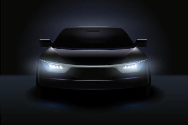 Car headlights realistic composition stylish black car with headlights shining in the dark illustration