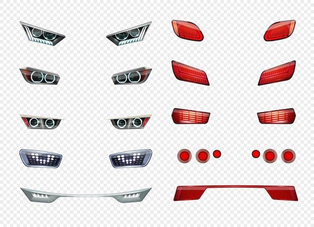 L'icona trasparente realistica dei fari dell'auto imposta diversi tipi di stile e colore dell'illustrazione dei fari