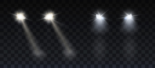 Car headlights shining on road in night