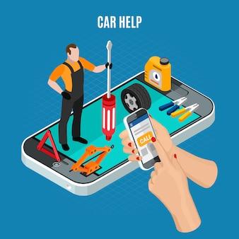 Il concetto isometrico di aiuto dell'automobile con l'attrezzatura e gli strumenti vector l'illustrazione