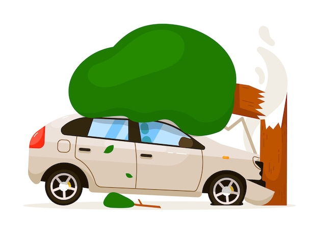 車が木にぶつかった。スピードドライブのため、孤立した車がバンパーで木にぶつかった。白い背景の上の正面フード損傷交通事故リスク保険イラスト