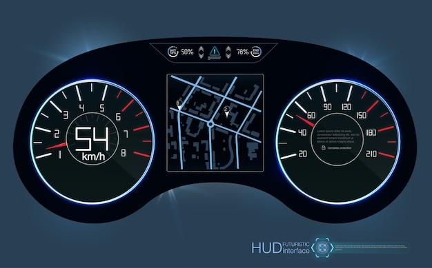 車のhudダッシュボード。抽象的な仮想グラフィックタッチユーザーインターフェイス。未来的なユーザーインターフェイスhudとインフォグラフィックの要素。