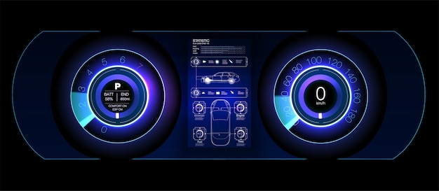 자동차 hud 대시 보드. 추상 가상 그래픽 터치 사용자 인터페이스. 미래형 사용자 인터페이스 hud 및 infographic 요소.