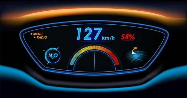 자동차 hud 대시 보드. 미래형 사용자 인터페이스 hud 및 infographic 요소.