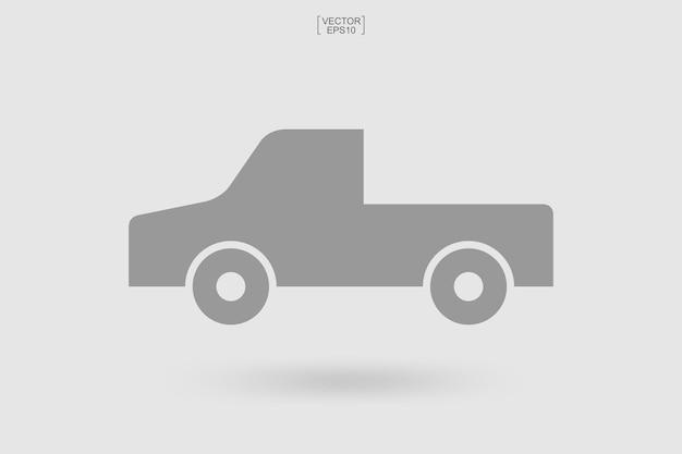 車のアイコン。物流トラックのアイコン。配達サービス車のシンボル。ベクトルイラスト。