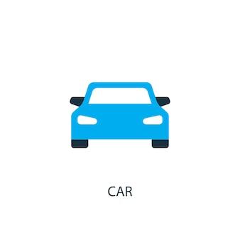 車のアイコン。ロゴ要素のイラスト。 2色コレクションの車のシンボルデザイン。シンプルな車のコンセプト。 webおよびモバイルで使用できます。