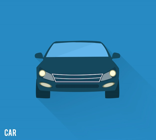 Car icon with shadow isolated on blue