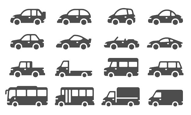車のアイコン。黒い車のシルエット、旅行用の自動車、自動車モデル。セダン、トラックとsuv、バス、その他の交通機関のベクトル標識。自動車、セダン、バン、ピックアップ自動車イラスト