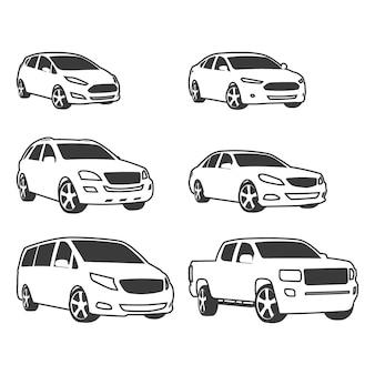 車のアイコンを設定します。線形スタイル。ベクトルイラスト。