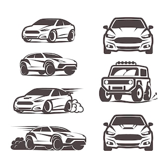 Car icons set suv sedan 4x4 sport vector illustration