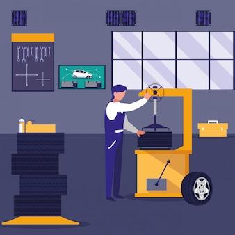 Автомобиль в ремонтной мастерской с механиком, работающим