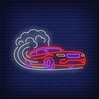 Car increasing speed neon sign