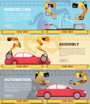 Car industry assembly line. auto production factory with industrial robots. automobile manufacturing vector banners set