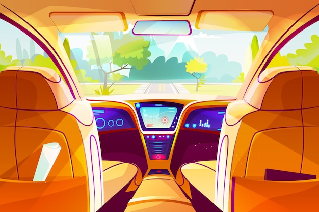 Car inside illustration of smart autonomous automobile cartoon design of vehicle dashboard