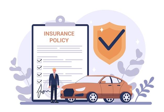 Концепция страхования автомобилей. идея безопасности и защиты имущества и жизни от порчи. безопасность от бедствия.