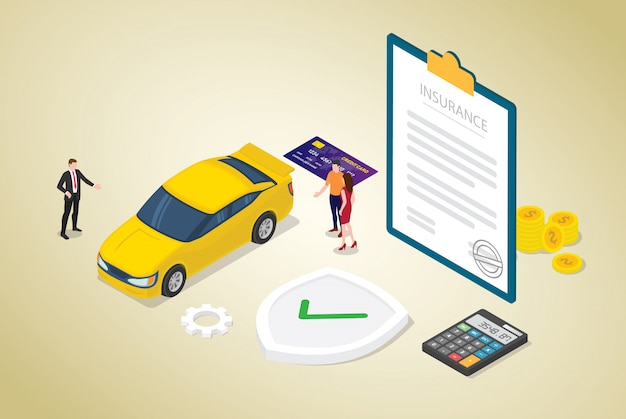Car insurance concept with car and contract paper with team people and modern isometric flat style