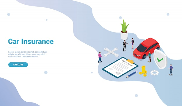 Car insurance concept with car and contract paper with team people for website template or landing homepage and modern isometric flat style