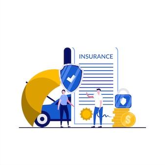 性格のある自動車保険のコンセプト。人々は書類、車、コイン、傘の保護、南京錠、盾の近くに立っています。自動車保険。ランディングページ、インフォグラフィック、ヒーロー画像のモダンなフラットスタイル。