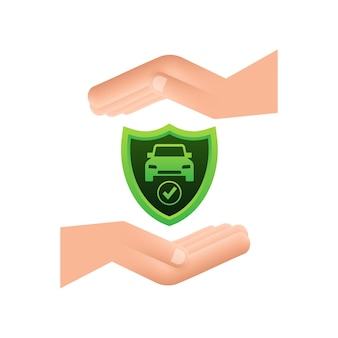Передача документов договора автострахования. значок щита. защита. векторная иллюстрация штока.