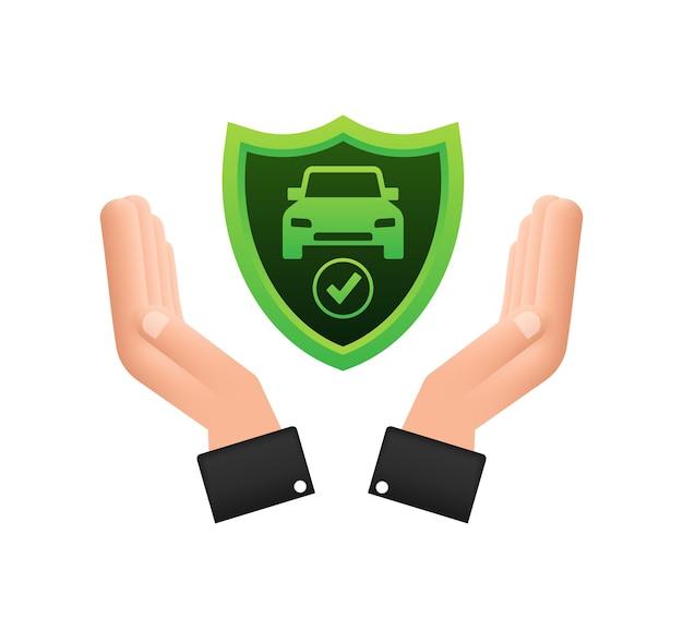 손 위에 자동차 보험 계약 문서입니다. 방패 아이콘입니다. 보호. 벡터 재고 일러스트 레이 션.