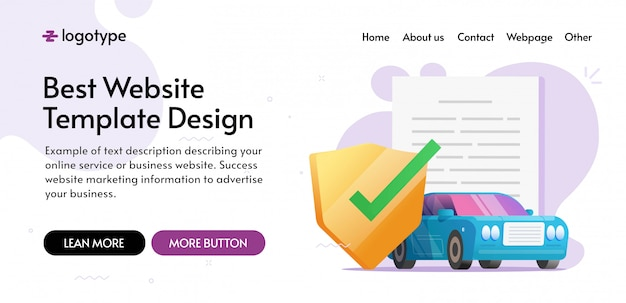 Car insurance coverage protection website template design or auto vehicle guarantee assurance legal policy document web site banner