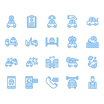 Car insurance icon set