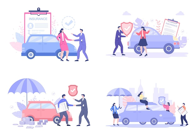 Car insurance illustrations set