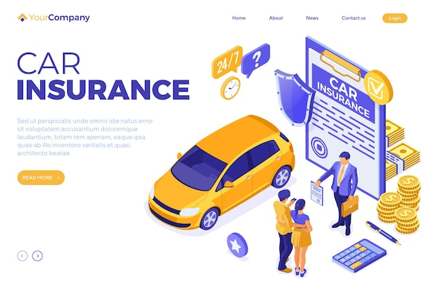 Car insurance isometric concept
