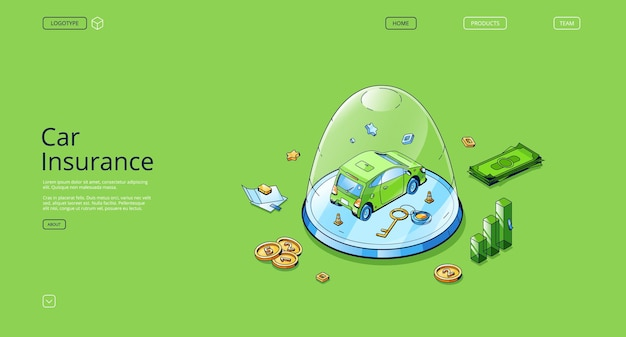 Car insurance isometric landing page auto stand under glass dome paper policy document money and key...