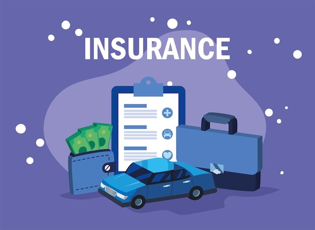 Car insurance payment and icons