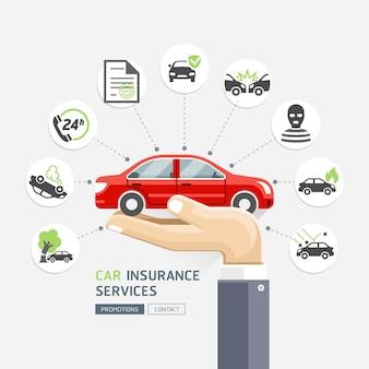 自動車保険サービス。赤い車を保持しているビジネスの手。