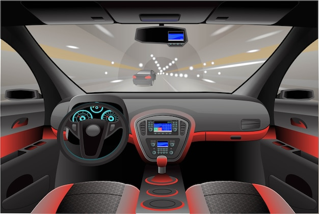 자동차 내부, 내부 조종석보기. 삽화.