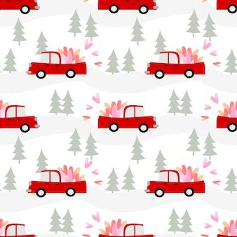 車はバレンタインデーのシームレスパターンに心を運んでいます。