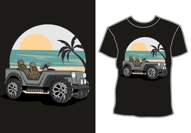 자동차는 일몰 전망과 코코넛 나무, 티셔츠 디자인으로 바닷가에 주차되어 있습니다.